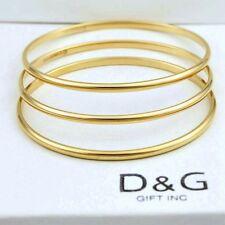 """3 Dg Women's 7.5"""" Stainless Steel Gold Solids Bangle Bracelet,Unisex.Box"""