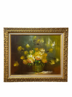 Vintage Ornate Gold Wood Framed Oil Painting on Canva Flowers 25*21 inch