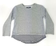 Jackson Girls Size Small Gray Striped Detail Cotton Blend Sweatshirt NWT