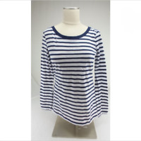 Splendid Women's Long Sleeve Shirt Navy/White Striped, XL