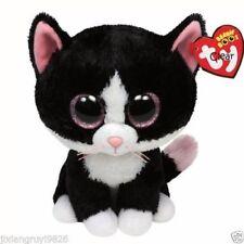 "6"" TY Beanie Boos Black White Cat PEPPER Glitter Eyes Plush Stuffed Toy Kid Gift"