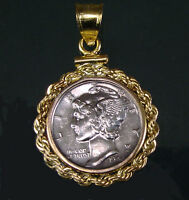 Coin Jewelry Pendant Vintage Mercury Dime Coin 14K Gold Filled Rope Bezel Bail
