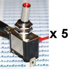 5 x 12V RED LED LIGHT TOGGLE SWITCH ON-OFF car spot bar cararavan strip lighting