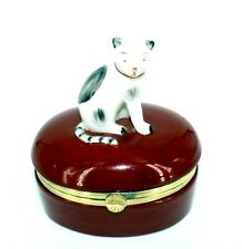 "Vintage 1985 Fitz & Floyd Staffordshire Cat Sitting On Trinket Box 4"" Tall 3.5""L"
