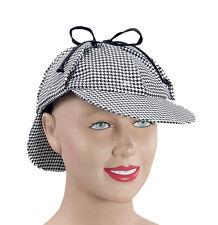 Sherlock Holmes Detective Hat Mens Ladies Deerstalker Victorian Fancy Dress Cap