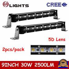 "2X Slim Single Row 9""inch 30W LED Light Bar Off-Road Lamp Jeep Ford SUV Fog 5D+"