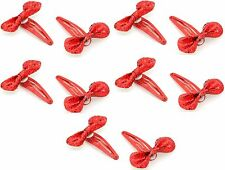 10 Christmas Red Sparkly Sleepie Clips with Bows