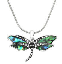 Beautiful Abalone Dragonfly Pendant Necklace Gift Boxed Fast Shipping