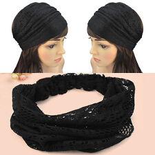 Encaje ancho diadema headwrap bandanas cabeza envuelve accesorio de pelo