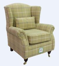 Ashley Wing Chair Fireside High Back Armchair Piazza Square Check Green