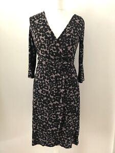 Monsoon Grey Black Floral Mock Wrap Stretch Jersey Dress Size 12 Ruched Waist