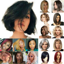 Womens BOB Curly/Straight Wigs Short Hair Real Natural Cosplay Party Full Wig