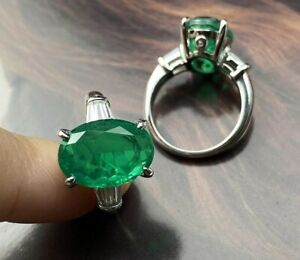925 Sterling Silver Natural Octagon Cut Colombian Emerald Gemstone Handmade Ring