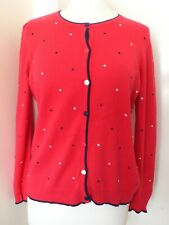 M Red with Navy/White Polka Dot Cotton Cardigan
