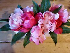 "Artificial Peony Arrangement in Ceramic Pot Pink White 13"" x 7.5"""