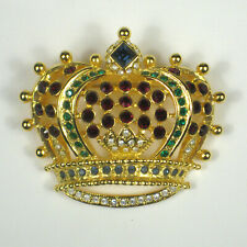 KJL Crown Brooch 1.75 In Women's Estate Pin VTG Kenneth Jay Lane Regal Jeweled