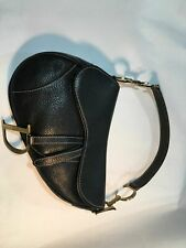 Christian Dior Saddle Bag , Black Leather Gold Hardware
