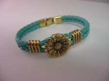 Great Look Turquoise Leather Band Gold Tone Flower Womans Bracelet Jewelry
