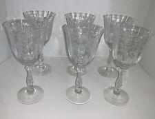 "SET- 6 Vintage Fostoria Navarre Clear Crystal Water/ Wine Goblets - 7 3/4"""