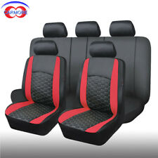 11 Full Set Red Universal Seat Covers Faux Leather Mesh Cushioned Breathable