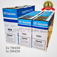 2x TN450 Toner +1x DR420 Drum For Brother HL-2240 HL-2270DW HL-2280DW MFC-7360N