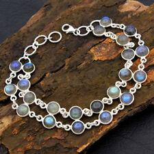 "925 Sterling Silver Round Shape Blue Labradorite Gemstone Statement Bracelet 8"""