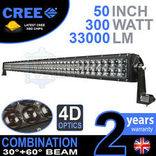 "4d 52"" 300w BARRA LUMINOSA A LED CREE Combo ip68 guida in lega leggera OFF ROAD 4x4 BARCA"