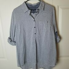 Women Tommy Hilfiger Tunic Style Striped Top Size Large Roll Tab Long Sleeve