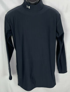 Under Armour Cold Gear Mens Mock Neck Fitted Shirt Size 2XL Sz XXL Black 2X