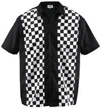 Size L Herren Bowling Shirt Work Hemd Karo check ska Rockabilly S/W kariert 50s