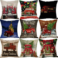 Home Christmas XMAS Cotton Linen Pillow Case Sofa Car Throw Cushion Cover Decor