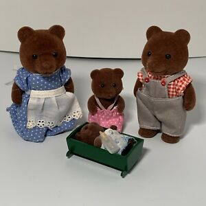 VINTAGE EPOCH SYLVANIAN FAMILIES BEAR FAMILY LOT OF 4 CALICO CRITTERS 1985