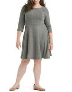 ModCloth Braid My Entire Day Textured Knit Fit And Flare Dress Plus Size 1X