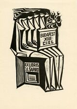 """Nude, """"Budapest XIII CIEL"""" Ex libris Bookplate by J. Petrauskas, Lithuania"""