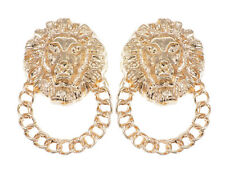 Alimarket Gold Tone Door Knocker Fierce Lion Head Chain Fancy Earrings Jewelry