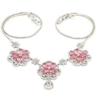 """Fancy Pink Morganite White CZ Ladies Present Silver Necklace 19.0-20.0in"""""""