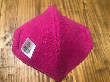 """Quality Cerise Pink """"Harris Tweed"""" 100% Cream Silk-lined Face Covering /mask"""
