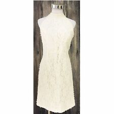 Oleg Cassini Ivory Beaded Lace Short Halter Sleeveless Wedding Dress Gown Sz 14