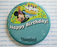 HAPPY BIRTHDAY - DISNEYLAND RESORT DLR BUTTON BADGE with Mickey Holding Cake Pin