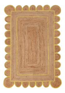 Scallop Rug 100% Natural Jute Braided Bohemian Hemp Carpet Rustic Look Rag Rugs