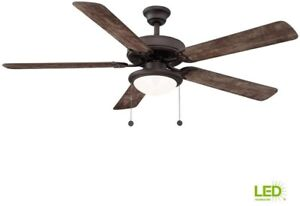 56in. Ceiling Fan Espresso Bronze Indoor w/ LED Bulb and 5 Reversible Fan Blades