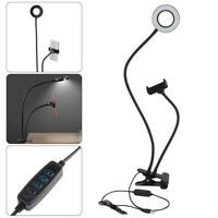 Selfie Flash Ring LED Light And Mobile Phone Holder Adjustable Arm USB Clip On