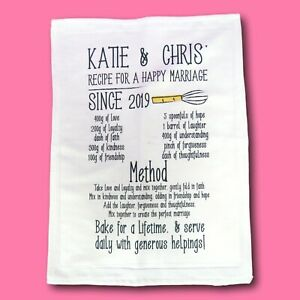 Recipe happy marriage tea towel | 2nd cotton present | wedding tea towel Vintage