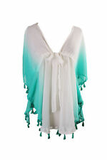 White/Mint X-LARGE Raviya DIP DYE FRINGE TUNIC Swimsuit Bikini COVER UP New!