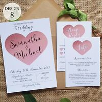 Personalised Wedding Invitations or Evening Invitations Invites Rose Gold