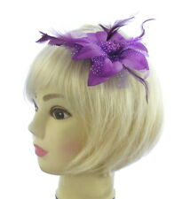 purple clip hair fascinator for weddings,prom