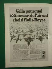 3/1982 PUB ROLLS-ROYCE MILITARY ENGINES TORNADO HAWK HARRIER ORIGINAL FRENCH AD