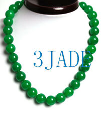 "18"" Imperial Green Quartz / Malaysia Jade 14mm Beads Necklace"