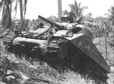 US M4 Sherman Tank in Action, Pacific WWII WW2 World War Two USMC Marines / 3006