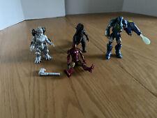 MIXED LOT OF 4 Figures, Iron Man, Godzilla, Mechagodzilla Used. and Weapon Parts